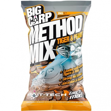 Bait-Tech BIG CARP METHOD TIGER & PEANUT 2kg - zanęta
